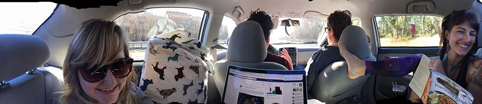 panoramic picture of friends traveling.