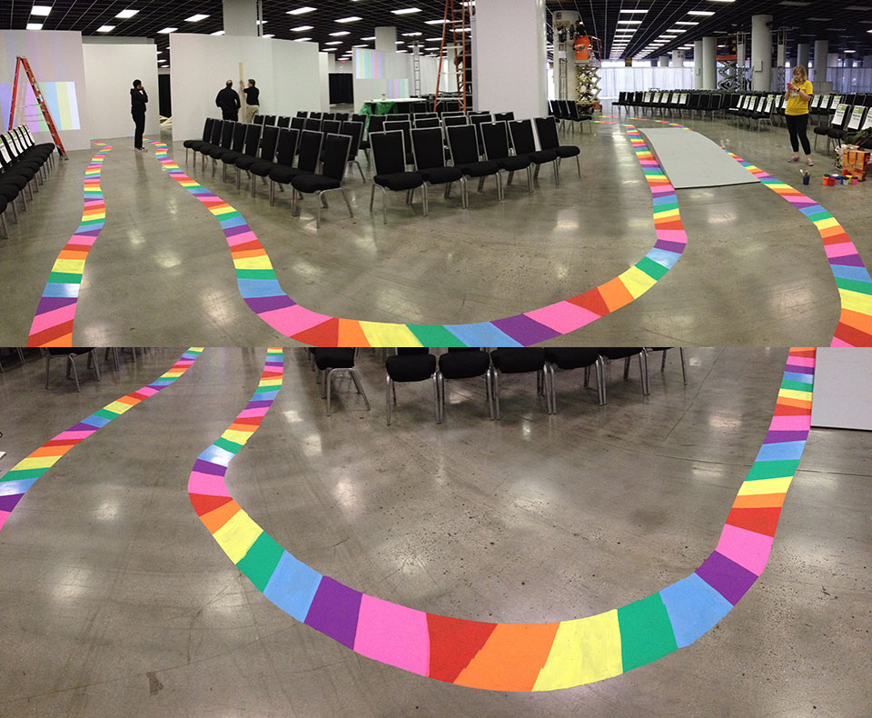 The chalk runway as viewed at two angles.