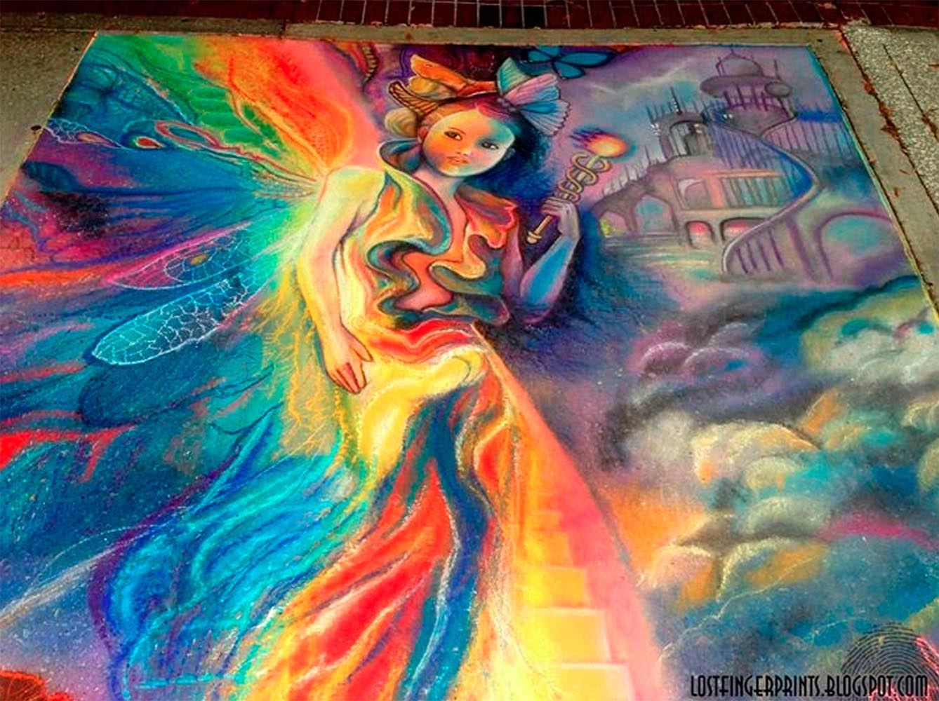 Keeper of the Rainbow Chalk Art by Chelsey Austin