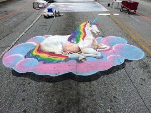 3D Chalk Art Unicorn created by Atlanta artist Katie Bush