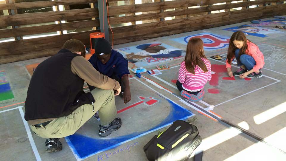 Chalking the Atlanta Braves at Ponce City Market