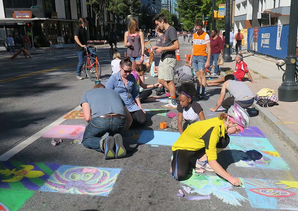 Everyone Joins in the Chalk Fun