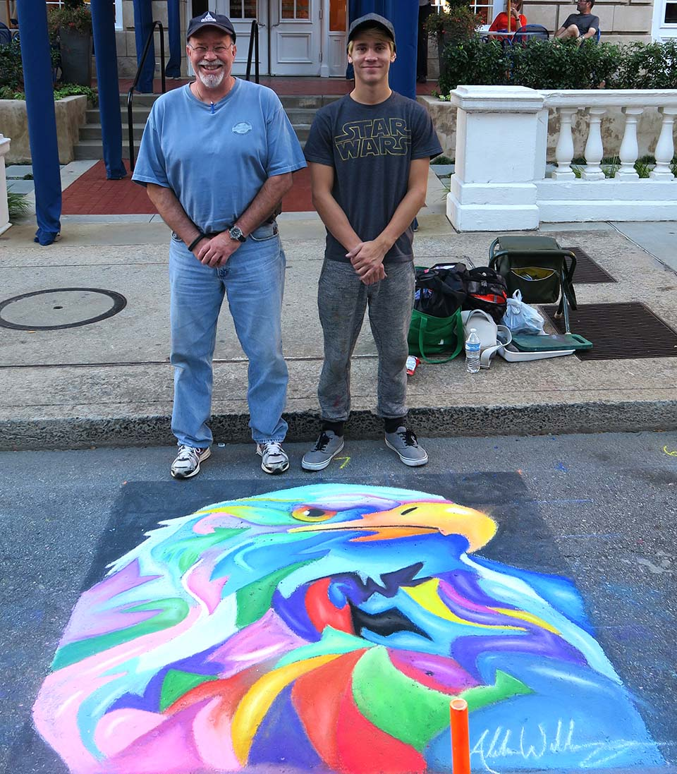 Colorful Eagle Chalk Art
